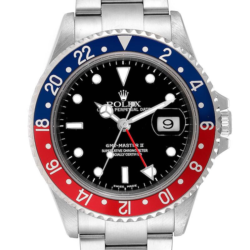 Rolex GMT Master II Pepsi Red and Blue Bezel Steel Mens Watch 16710 SwissWatchExpo