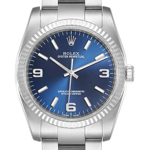 Photo of Rolex No Date Mens Steel 18K White Gold Blue Dial Watch 116034