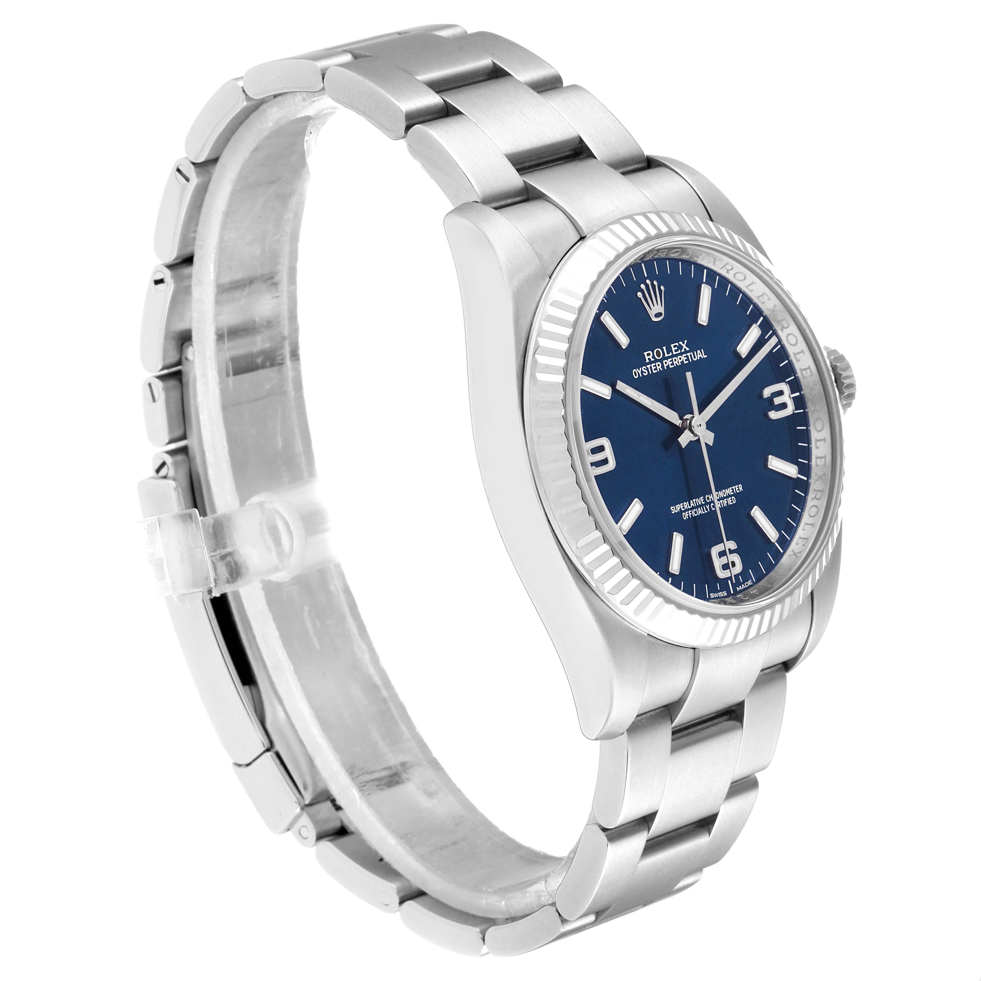 Rolex No Date Mens Steel 18K White Gold Blue Dial Watch 116034 SwissWatchExpo