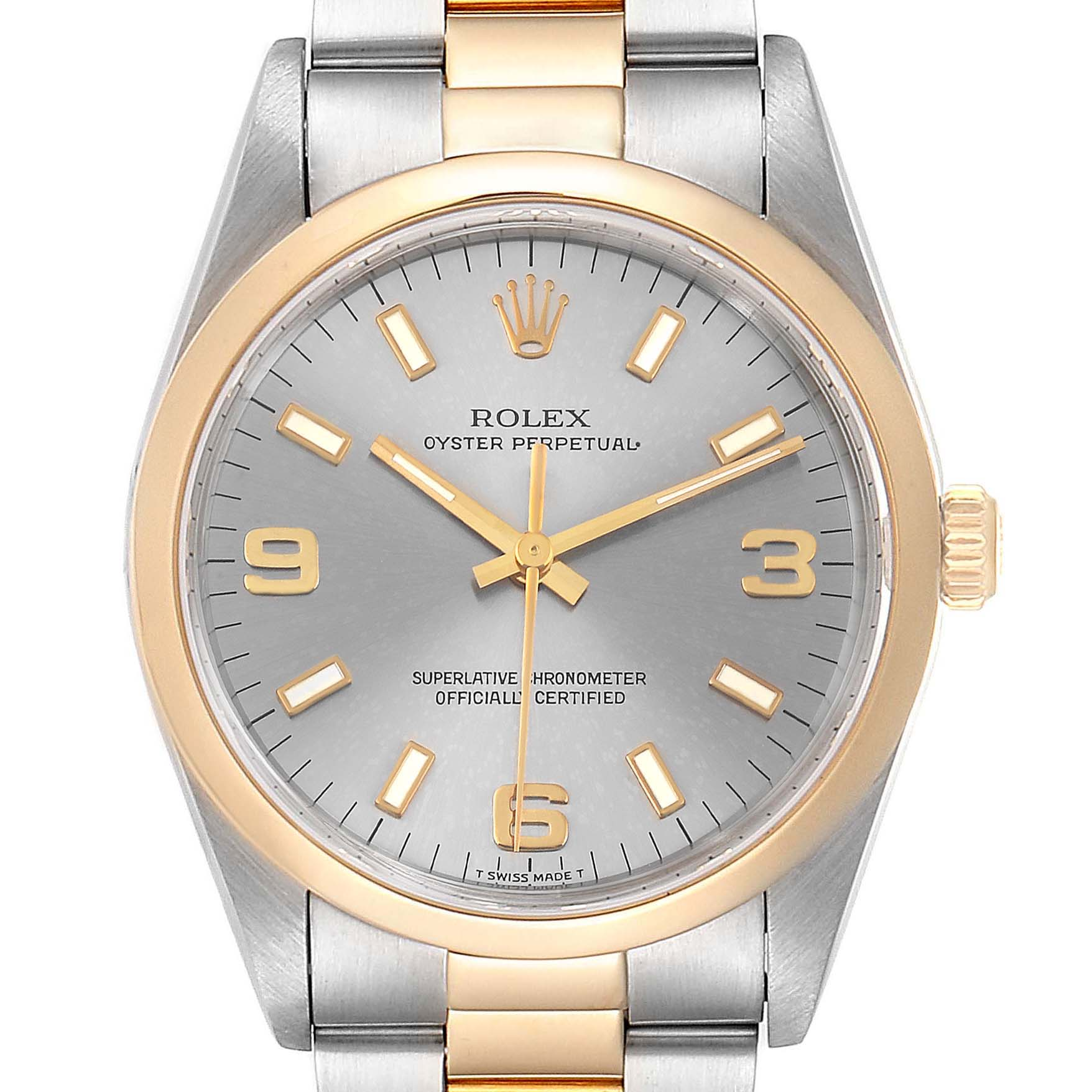 Rolex Oyster Perpetual Domed Bezel Steel Yellow Gold Mens Watch 14203