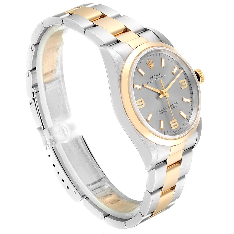 Rolex Oyster Perpetual Domed Bezel Steel Yellow Gold Mens Watch 14203 SwissWatchExpo