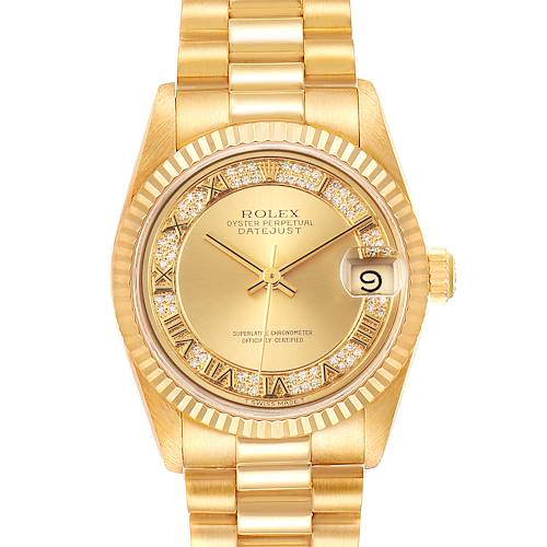 Photo of Rolex President Datejust 31 Yellow Gold Myriad Diamond Watch 68278 Box Papers
