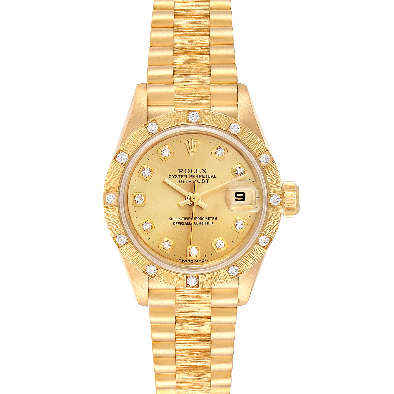 Rolex President Datejust Yellow Gold Diamond Ladies Watch 69288 Box Papers