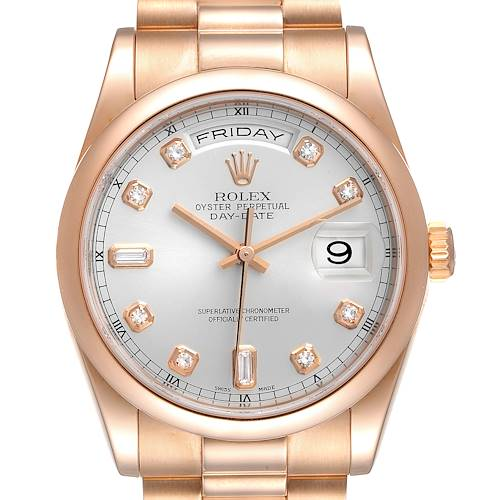 Photo of Rolex President Day Date 36 Rose Gold Diamond Mens Watch 118205 Box Papers