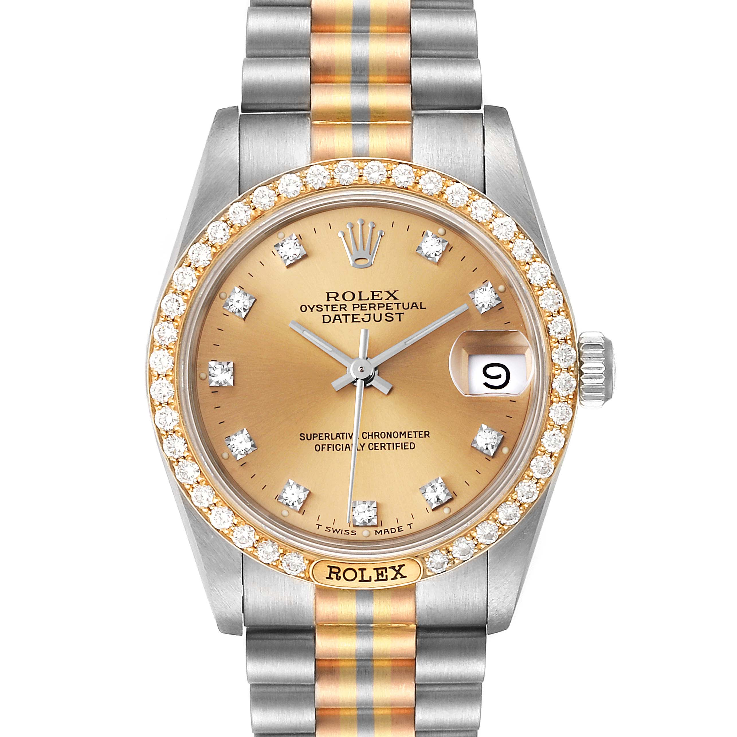 Rolex President Tridor 31mm Midsize White Yellow Rose Diamond Watch 68149