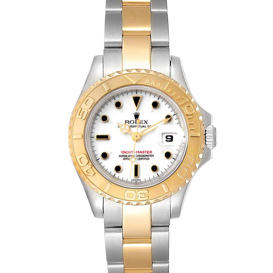 Rolex Yachtmaster 29mm White Dial Steel Yellow Gold Watch 69623 Box Papers SwissWatchExpo