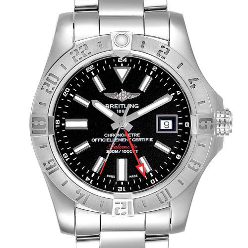 Photo of Breitling Aeromarine Avenger II GMT Black Dial Watch A32390 Box Papers