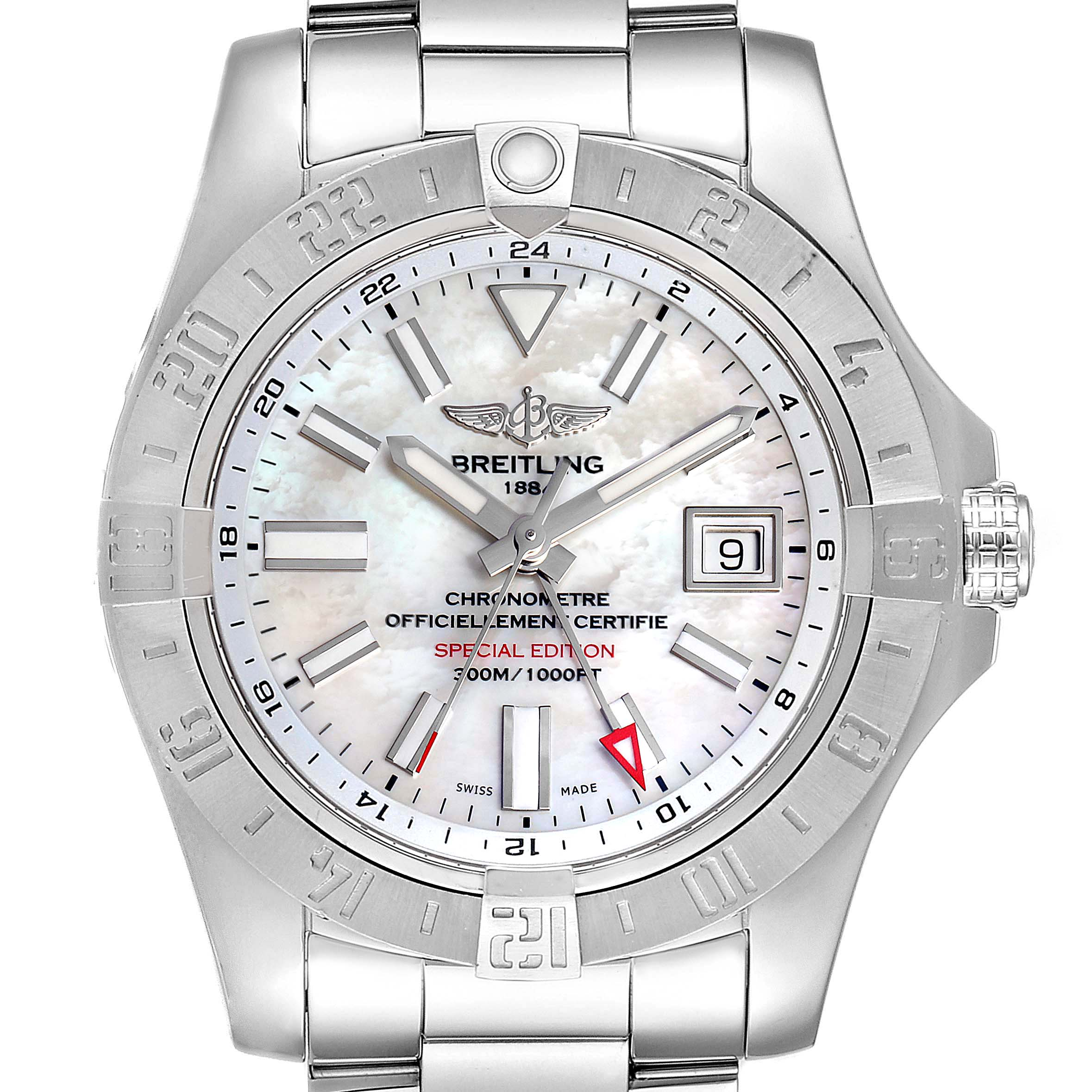 Breitling Aeromarine Avenger II GMT MOP Dial Watch A32390 Box Papers