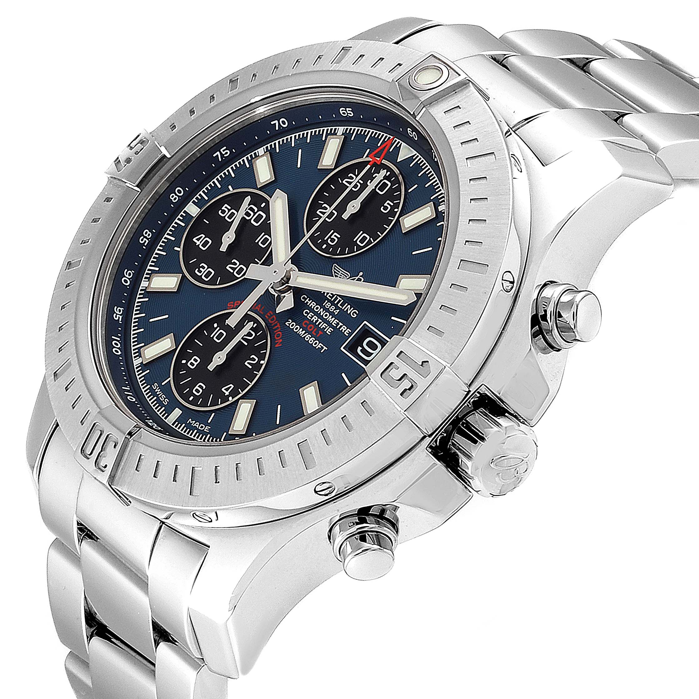 Breitling Colt Blue Dial Automatic Chronograph Steel Mens Watch A13388 SwissWatchExpo