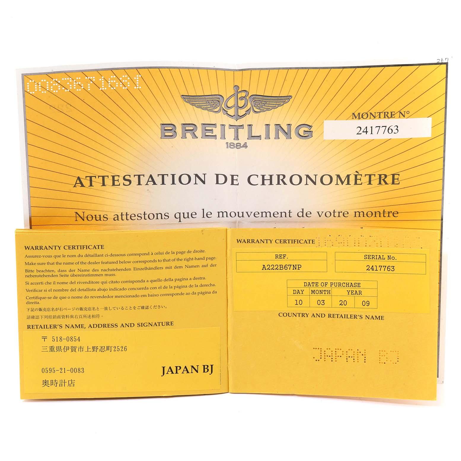 Breitling Navitimer Cosmonaute Black Dial Steel Mens Watch A22322 SwissWatchExpo