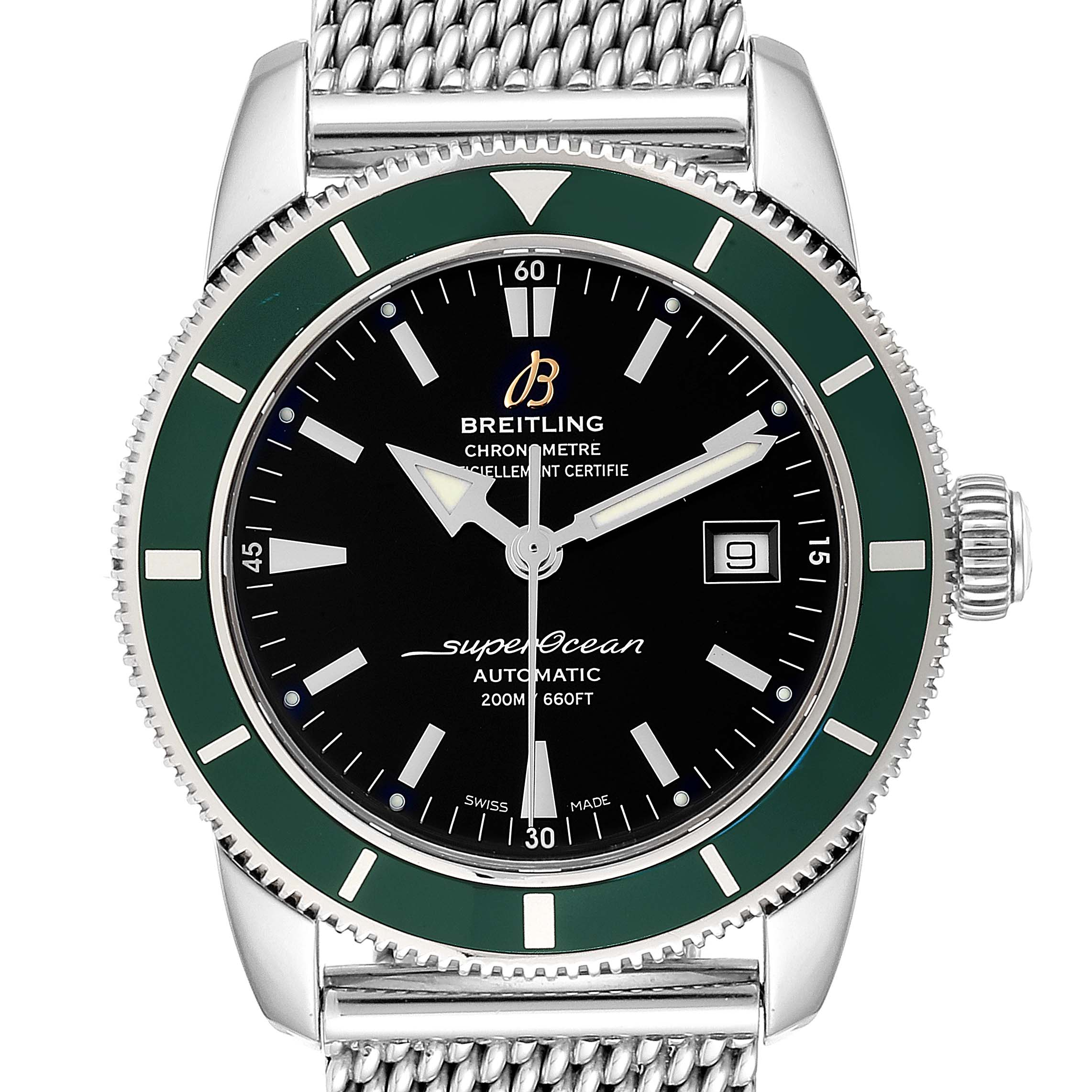 Breitling Superocean Heritage 42 Green Bezel Steel Mens Watch A17321 SwissWatchExpo