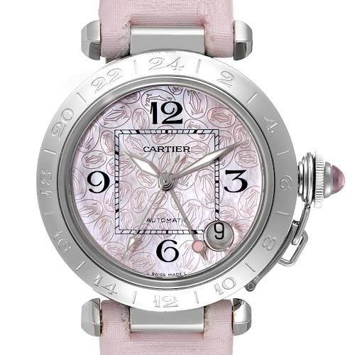 Photo of Cartier Pasha GMT Midsize Pink Dial Steel Ladies Watch W3107099 Box Papers