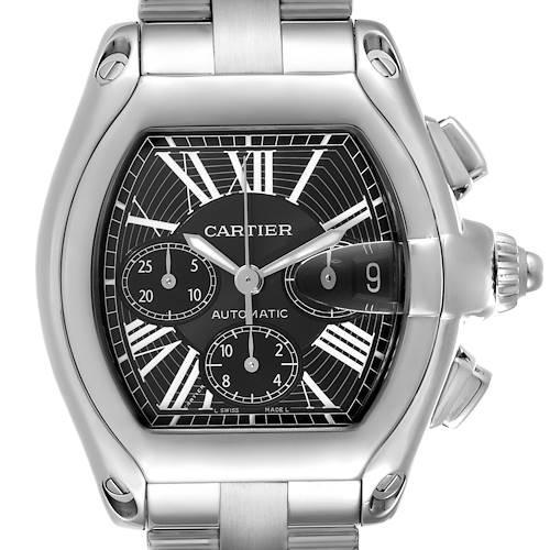 Photo of Cartier Roadster XL Chronograph Black Dial Mens Watch W62020X6 Box Papers