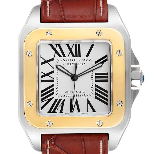 Photo of Cartier Santos 100 Steel Yellow Gold 38mm Silver Dial Mens Watch W20072X7