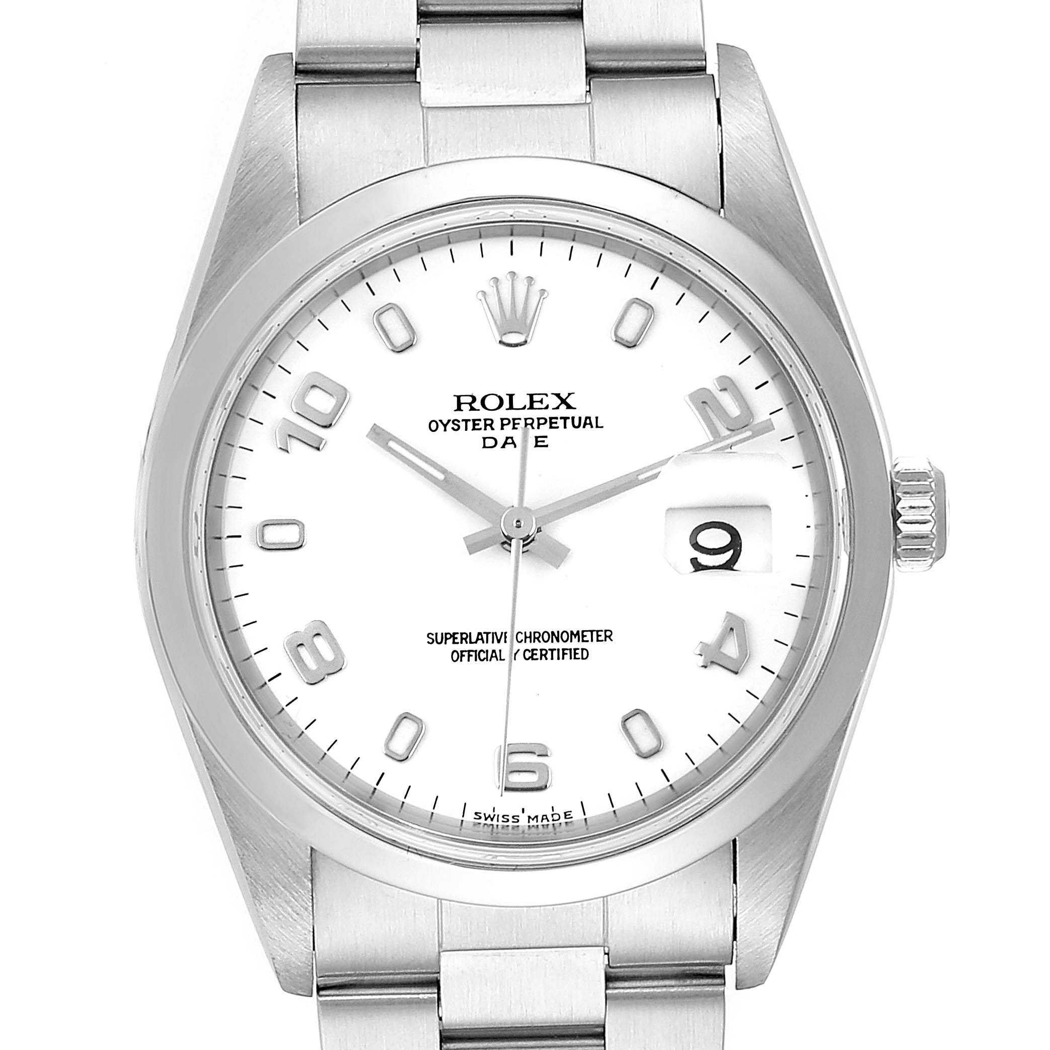 Rolex Date White Dial Oyster Bracelet Steel Mens Watch 15200 Box Papers