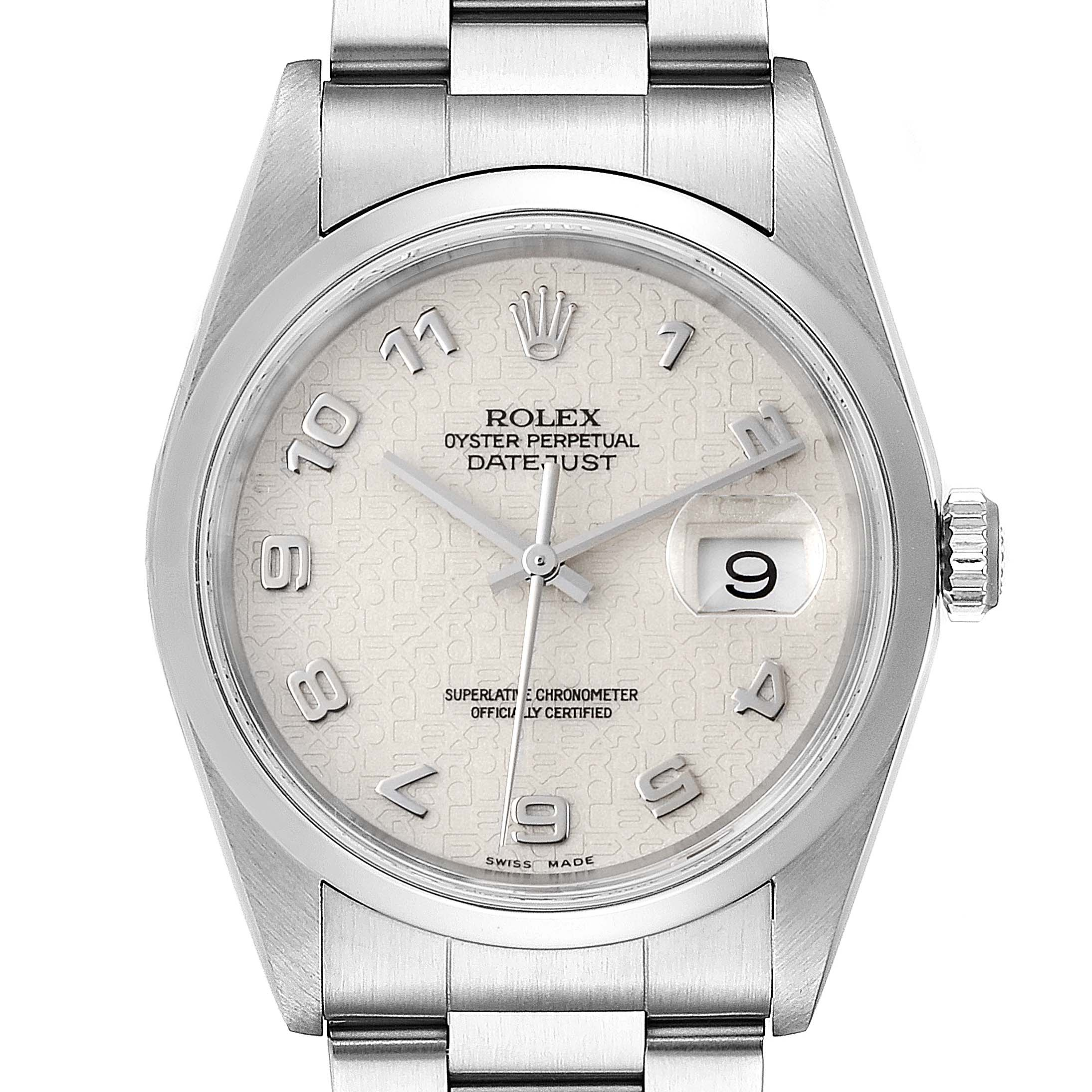 Rolex Datejust Anniversary Jubilee Dial Steel Mens Watch 16200 Box Papers