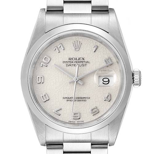 Photo of Rolex Datejust Anniversary Jubilee Dial Steel Mens Watch 16200 Box Papers