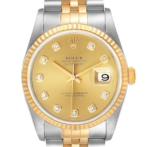 Photo of Rolex Datejust Steel Yellow Gold Diamond Dial Watch 16233 Box Papers