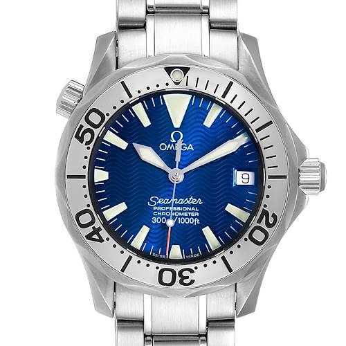 Photo of Omega Seamaster Midsize Blue Wave Dial Steel Mens Watch 2553.80.00