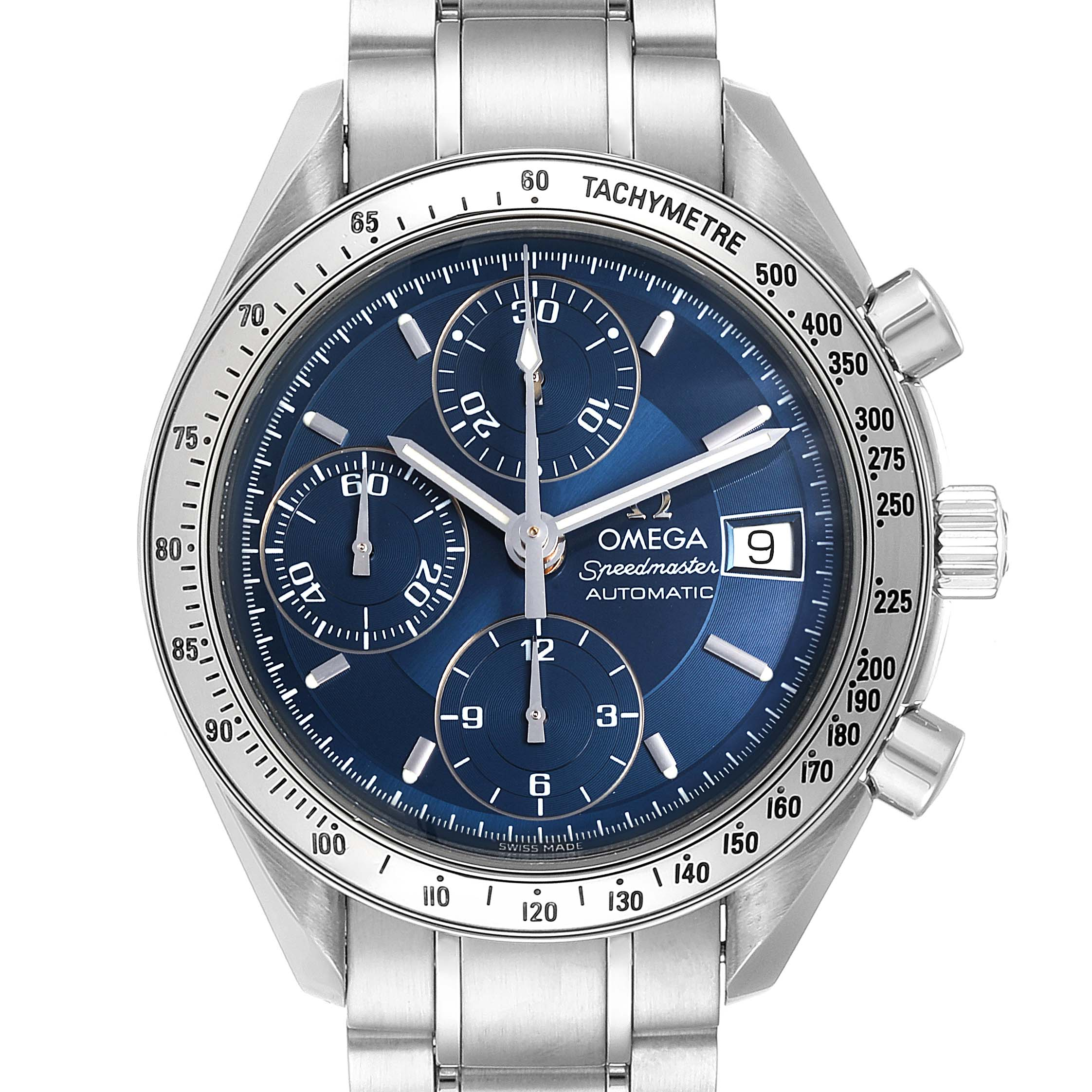 Omega Speedmaster Date Blue Dial Chronograph Mens Watch 3511.80.00 Card