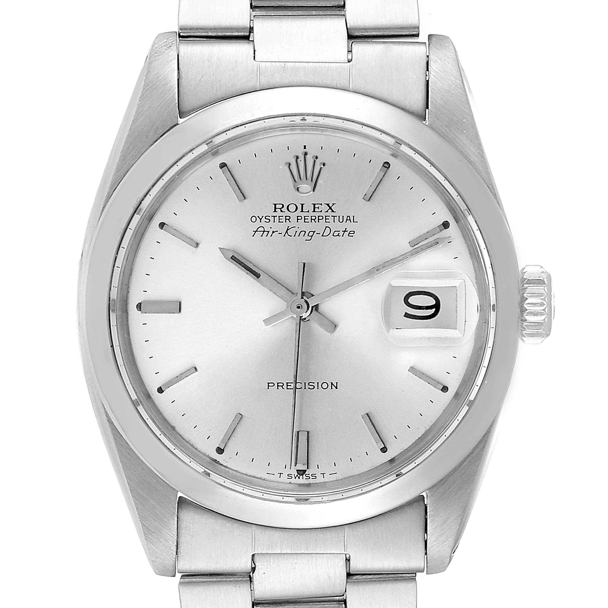 Rolex Air King Date Vintage Stainless Steel Silver Dial Mens Watch 5700 SwissWatchExpo