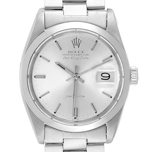Photo of Rolex Air King Date Vintage Stainless Steel Silver Dial Mens Watch 5700