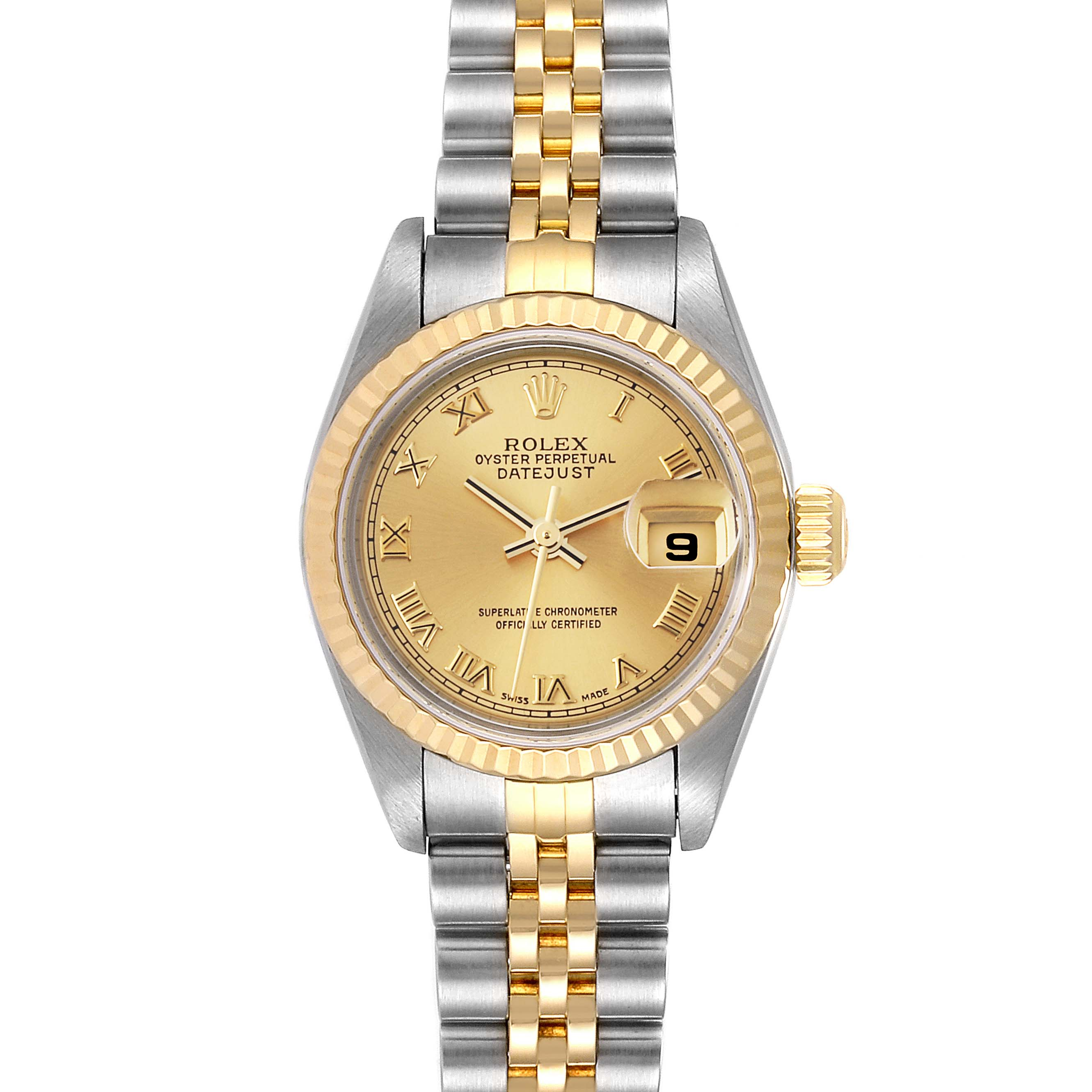 Rolex Datejust Steel 18K Yellow Gold Fluted Bezel Ladies Watch 79173