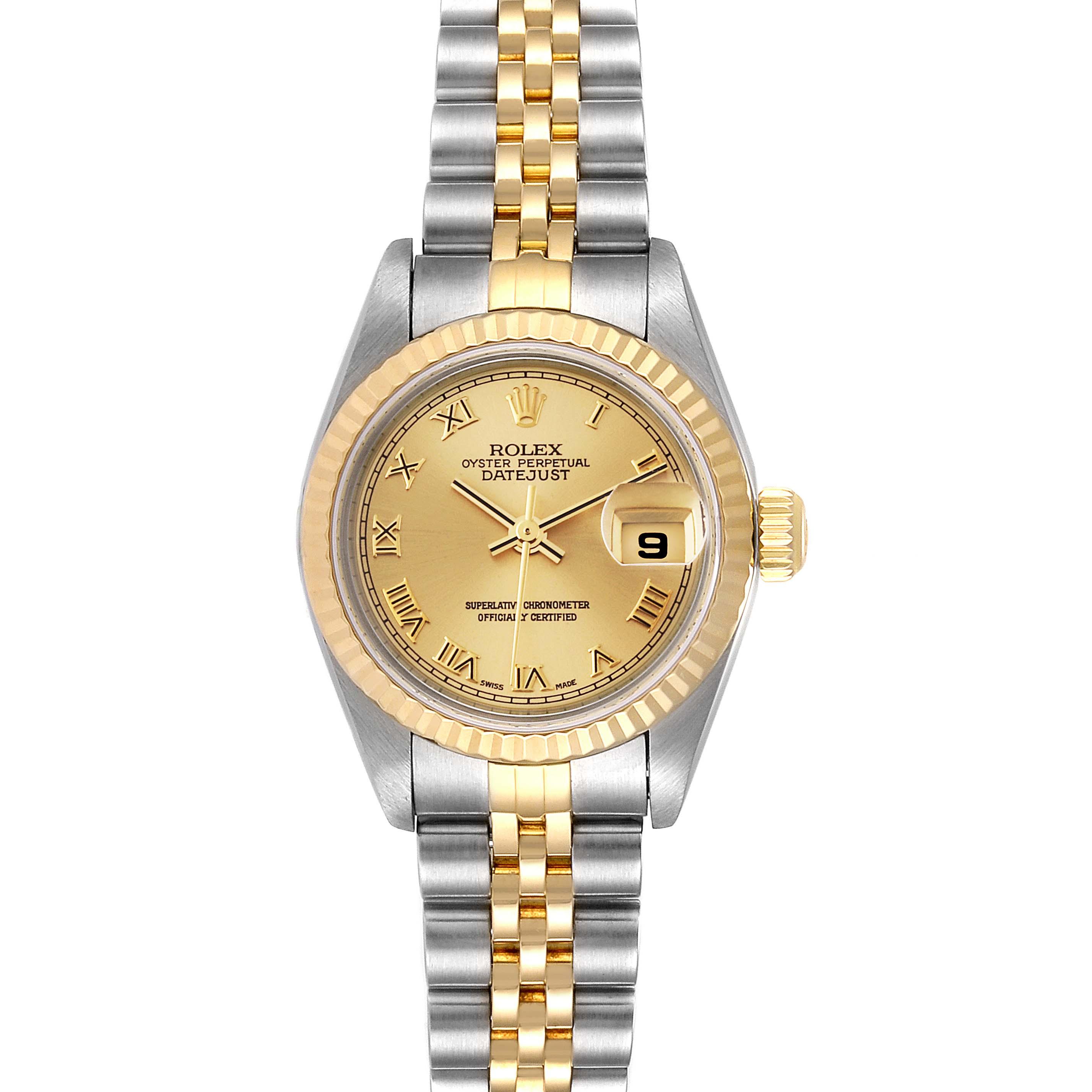 Rolex Datejust Steel 18K Yellow Gold Fluted Bezel Ladies Watch 79173