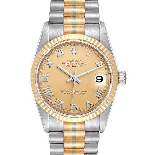 Photo of Rolex President Tridor 31 Midsize White Yellow Rose Gold Ladies Watch 78279