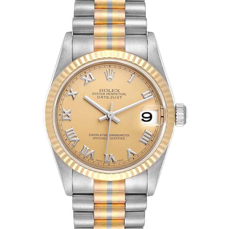 Rolex President Tridor 31 Midsize White Yellow Rose Gold Ladies Watch 78279 SwissWatchExpo
