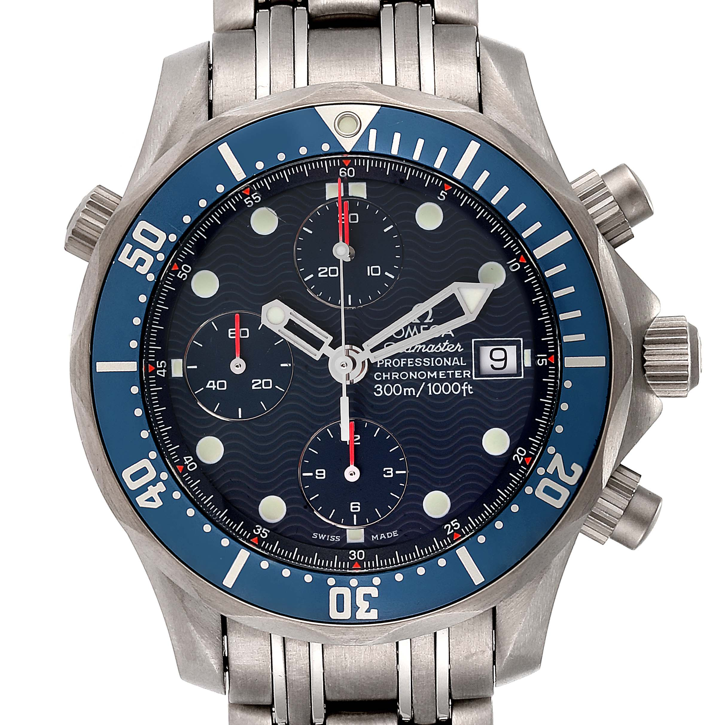 Omega Seamaster Chrono Diver Blue Dial Titanium Mens Watch 2298.80.00