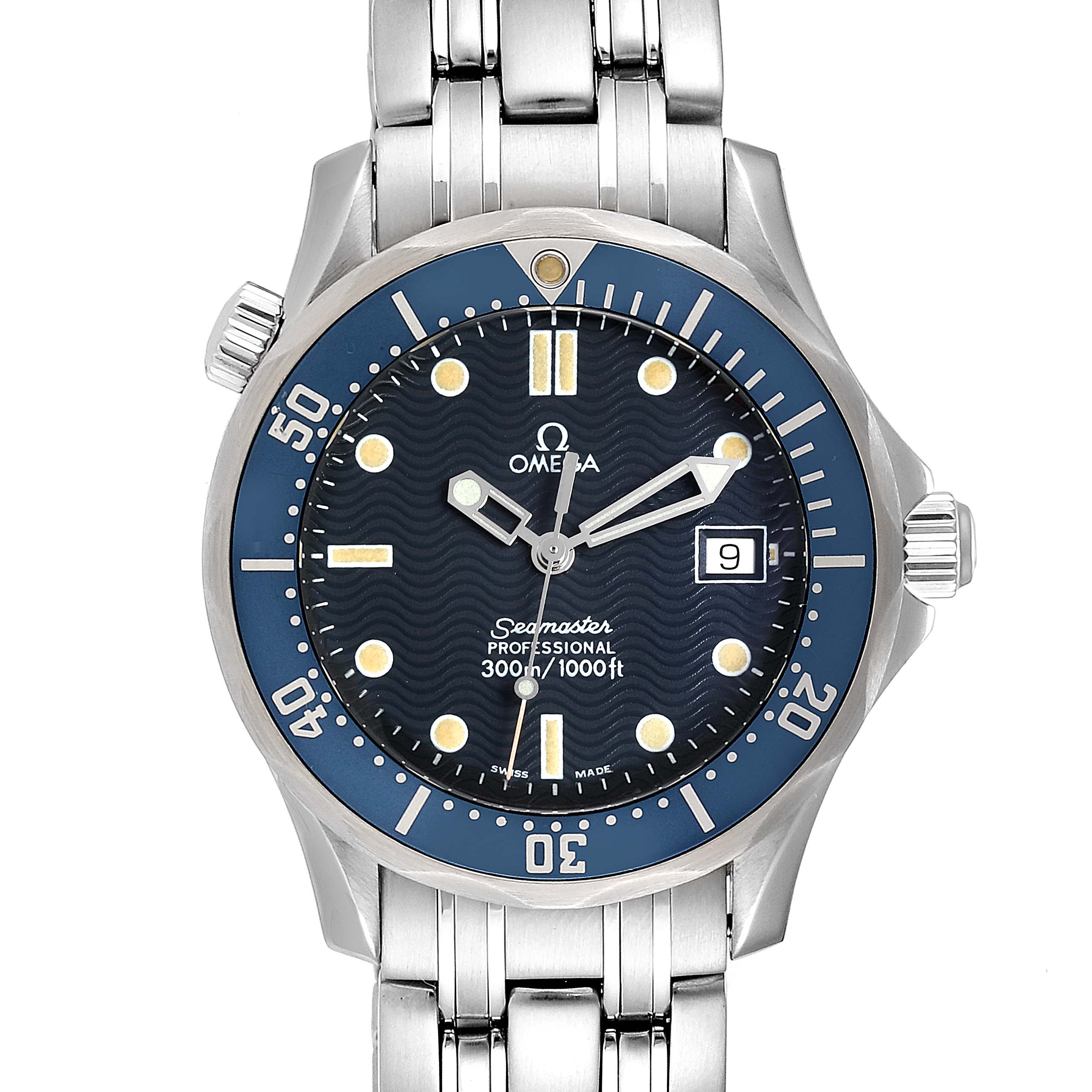Omega Seamaster James Bond 36 Midsize Blue Wave Dial Watch 2561.80.00 SwissWatchExpo