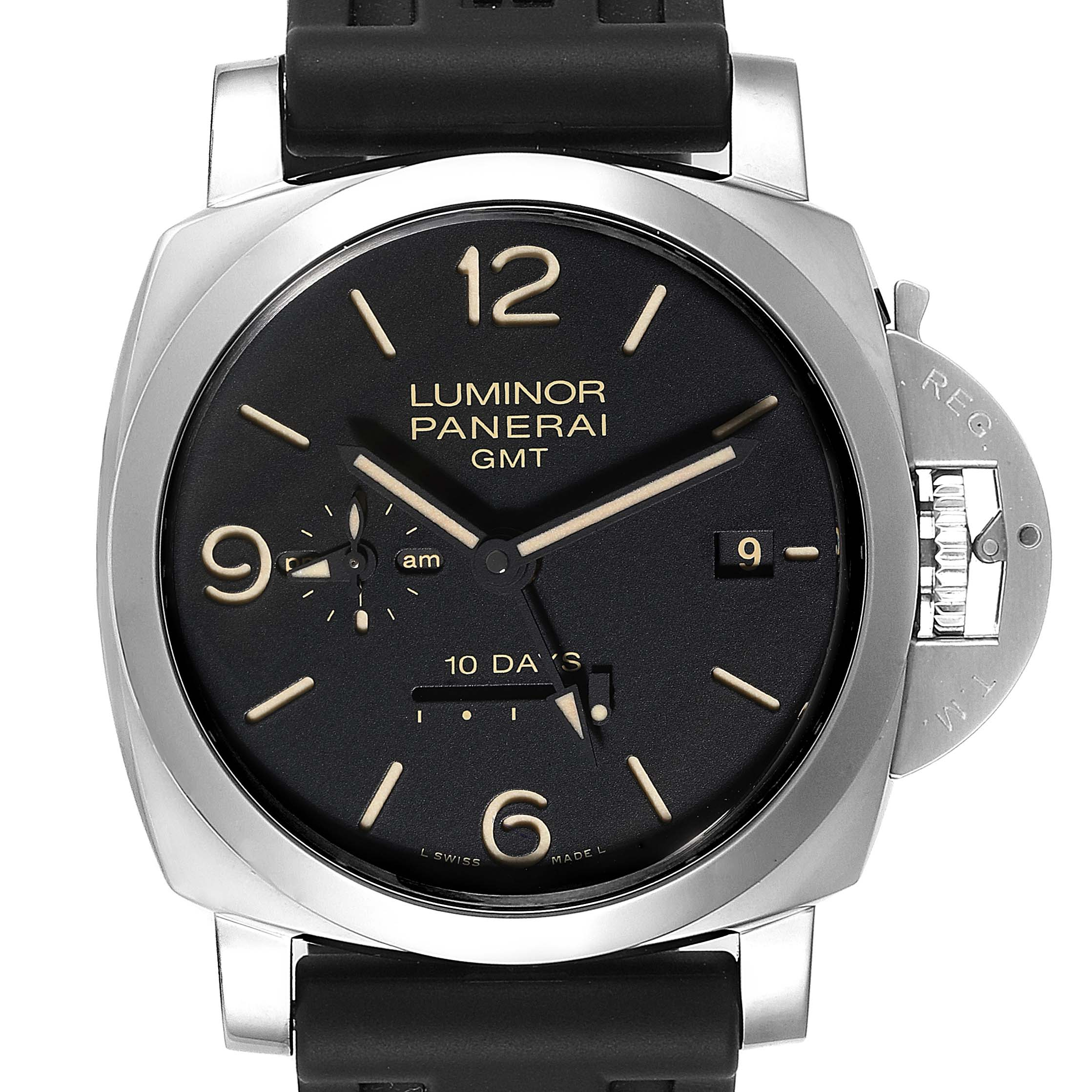 Panerai Luminor Marina 1950 10 Days GMT 44mm Watch PAM00533 Box Papers