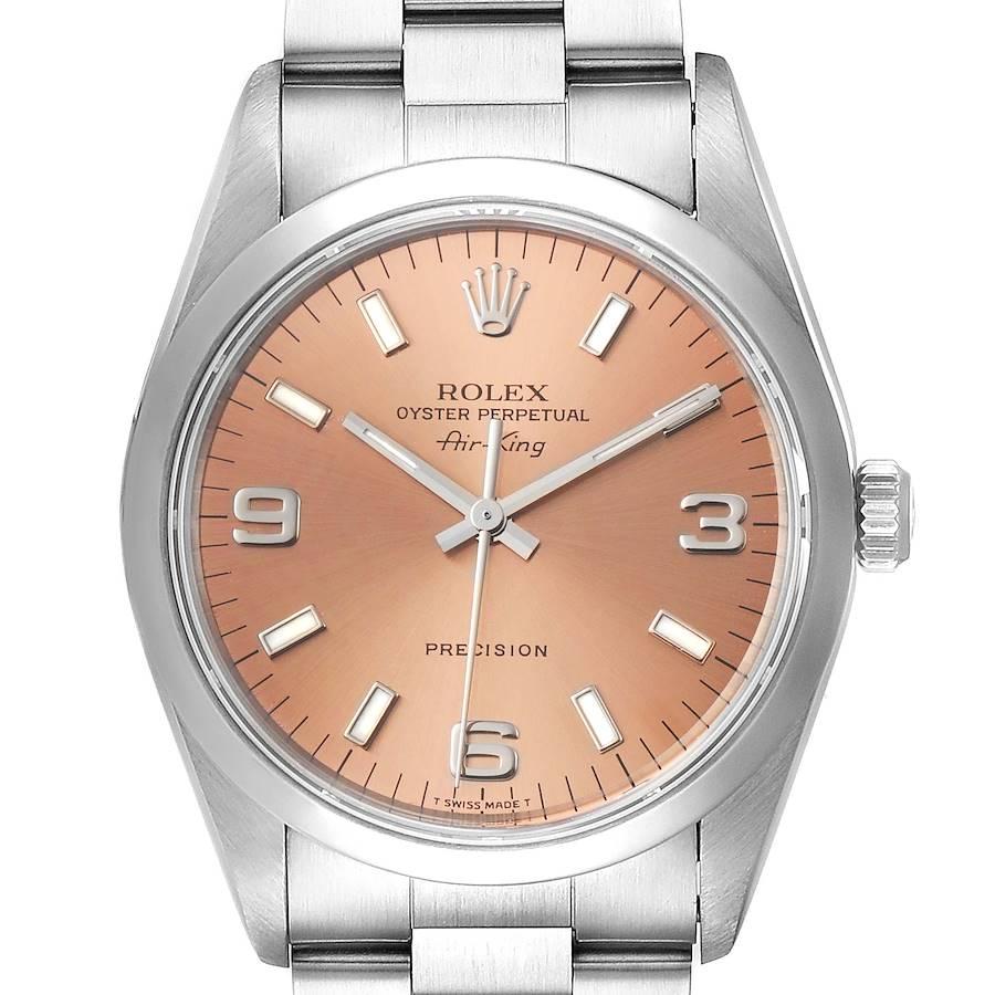 Rolex Air King 34 Salmon Baton Dial Domed Bezel Steel Mens Watch 14000 SwissWatchExpo