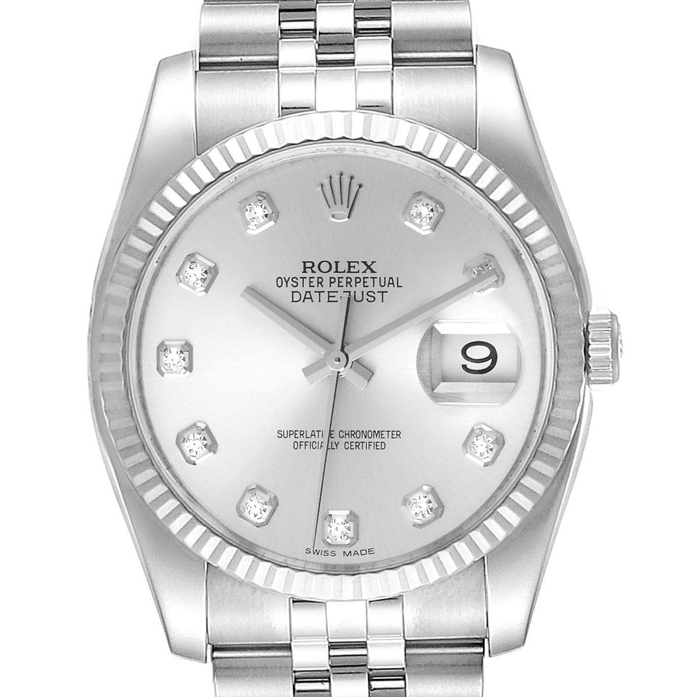 Rolex Datejust Steel White Gold Diamond Dial Mens Watch 116234 Box Card