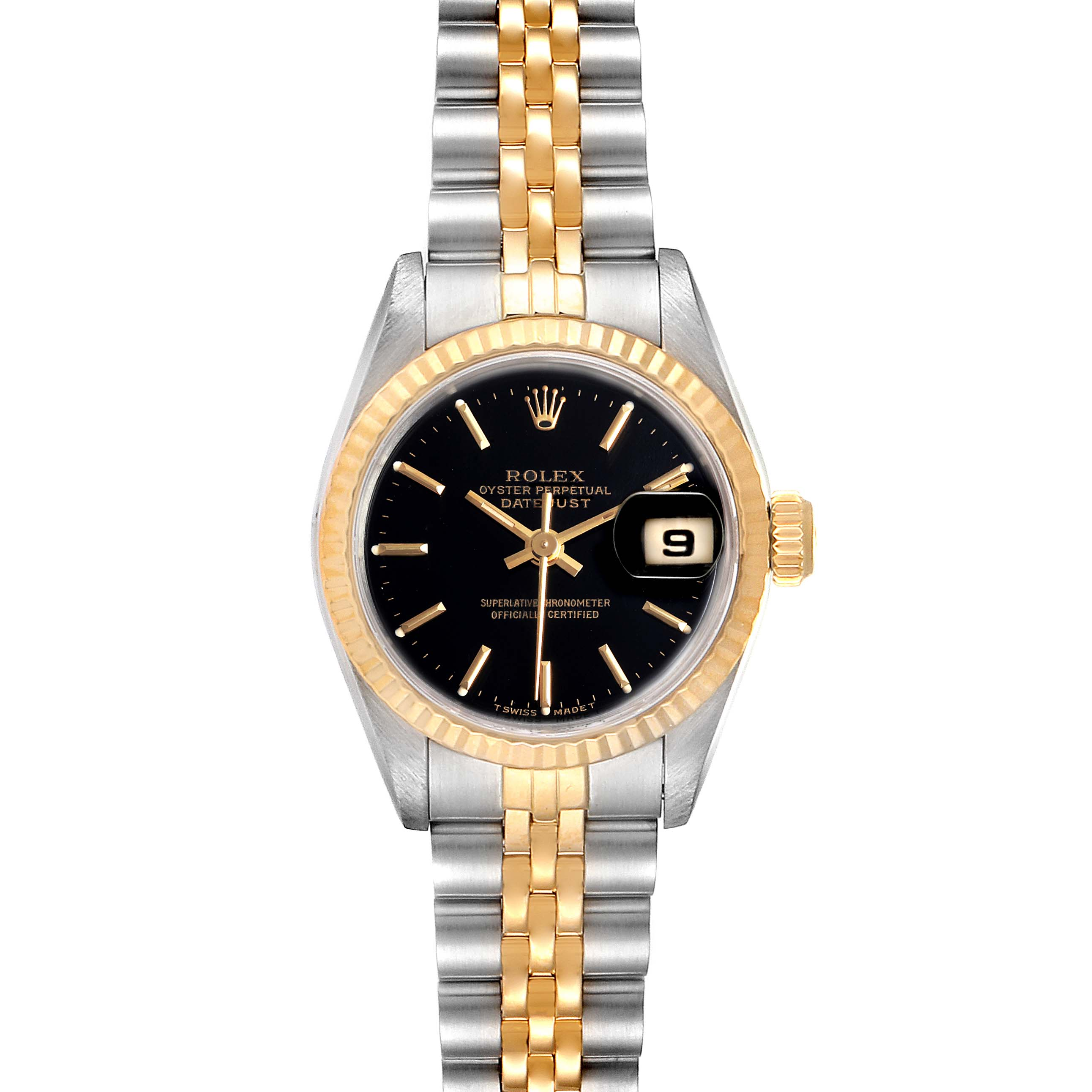 Rolex Datejust Steel Yellow Gold Black Dial Ladies Watch 69173