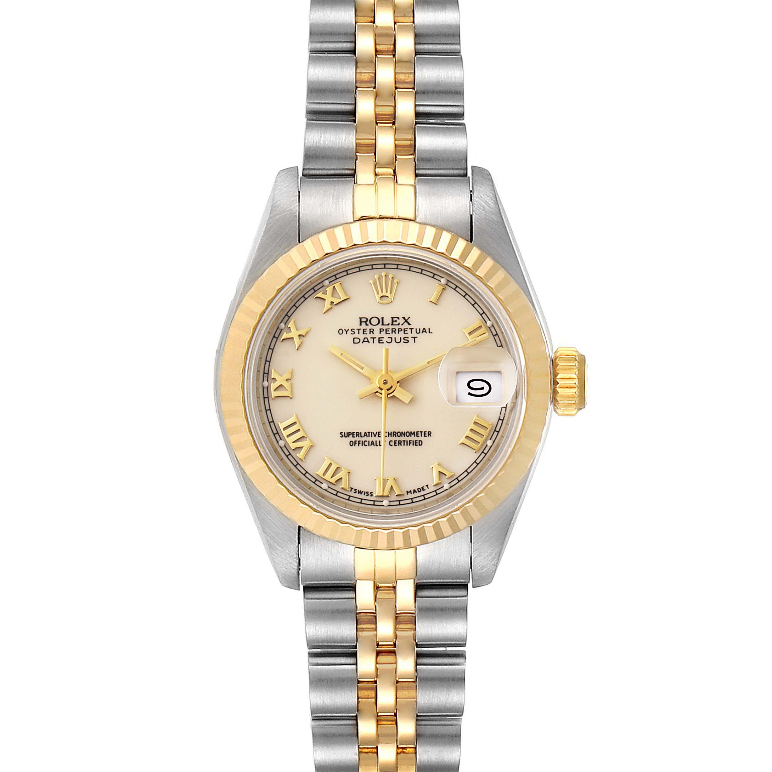 Rolex Datejust Steel Yellow Gold Ivory Roman Dial Ladies Watch 69173