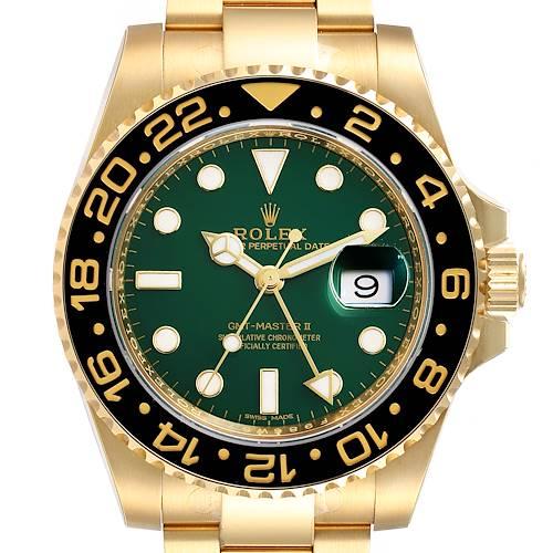 Photo of Rolex GMT Master II Yellow Gold Green Dial Mens Watch 116718 Unworn