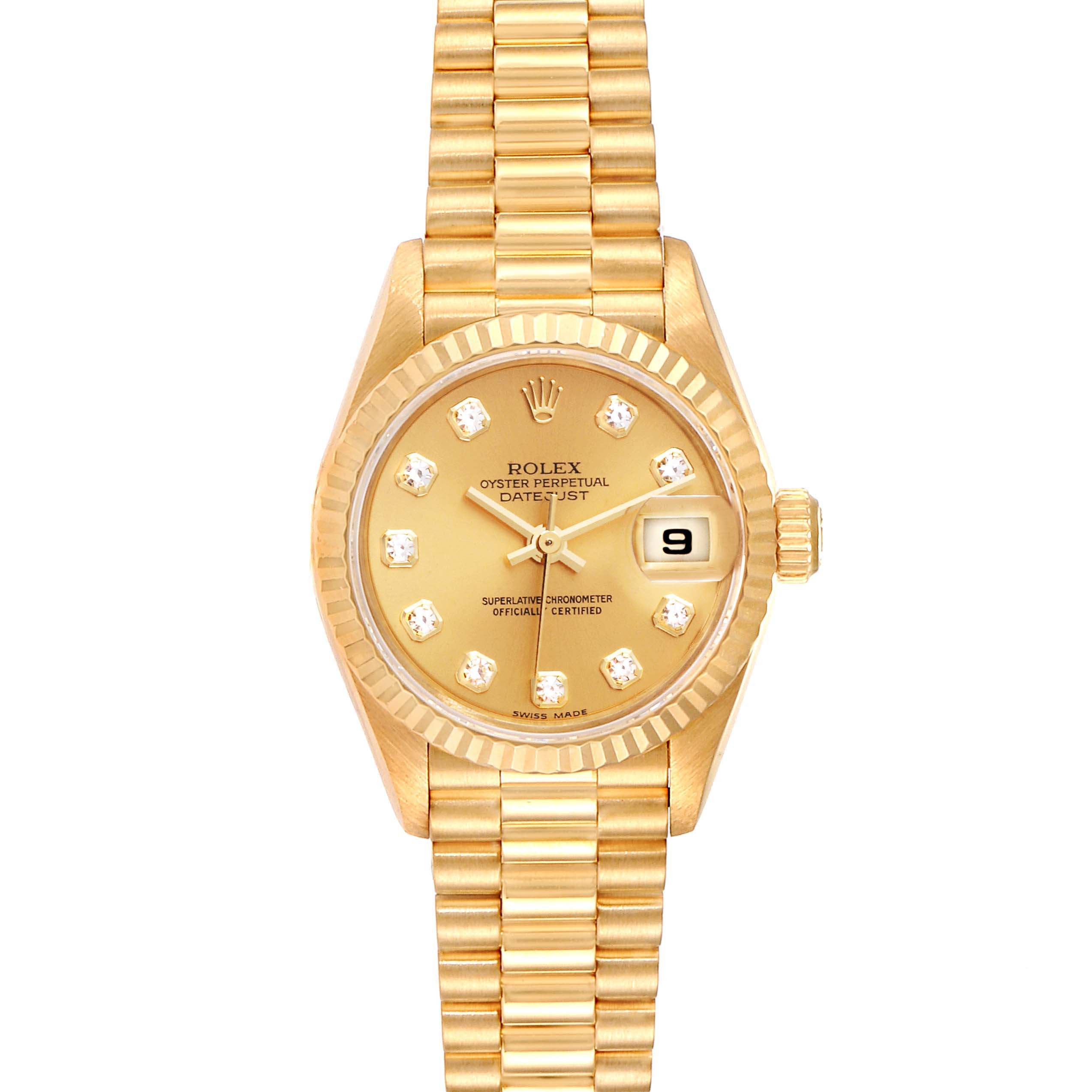 Rolex President Datejust Yellow Gold Diamond Ladies Watch 79178 Box Papers