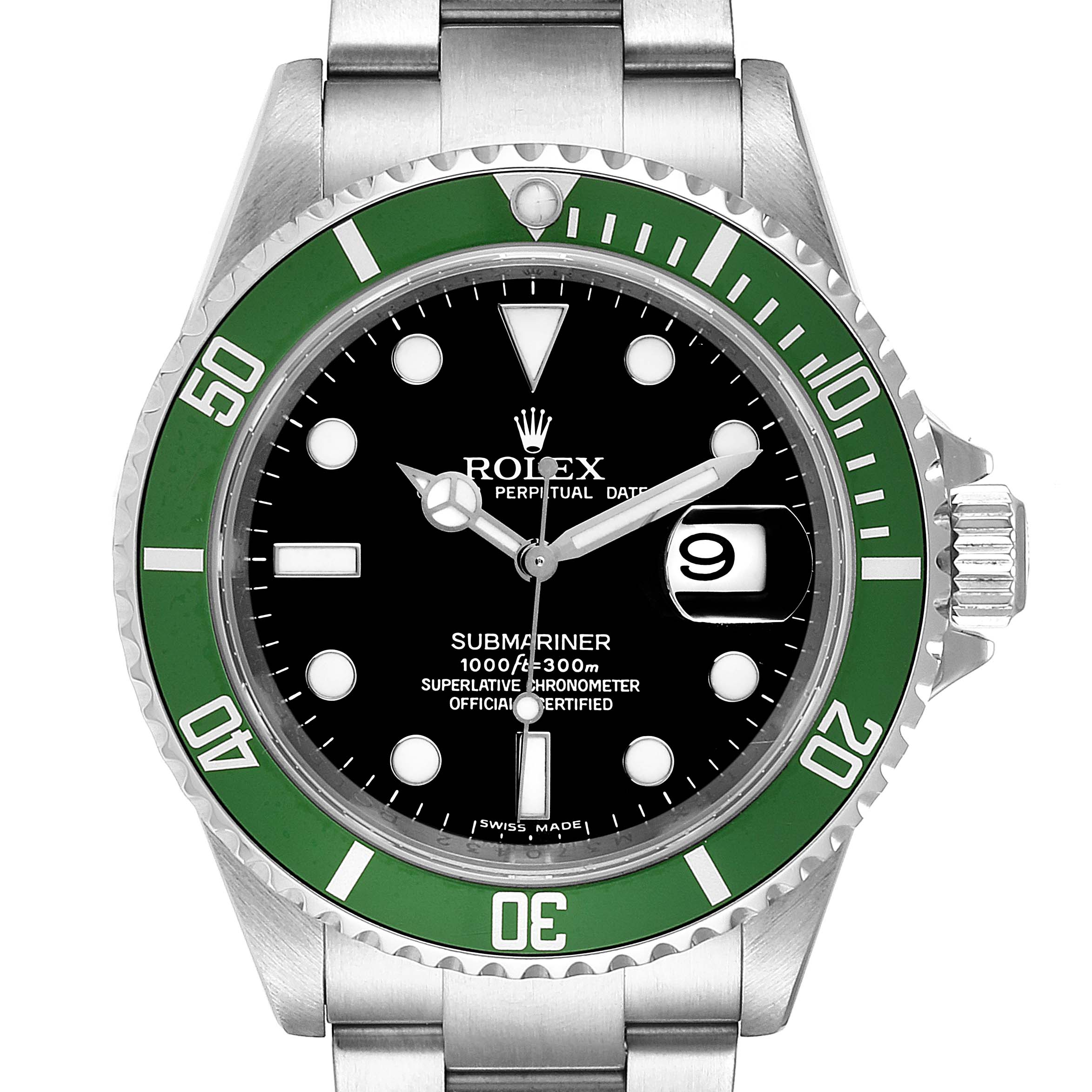 Rolex Submariner 50th Anniversary Green Kermit Watch 16610LV Box Card