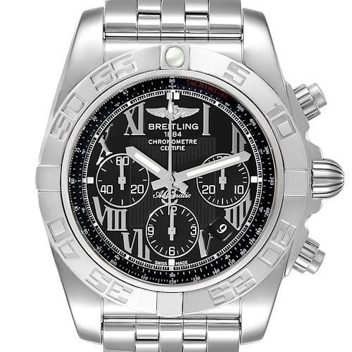 Photo of Breitling Chronomat 01 Black Dial Chronograph Steel Mens Watch AB0110