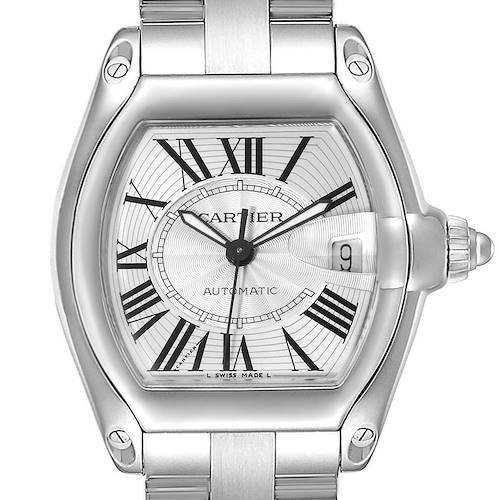 Photo of Cartier Roadster Silver Dial Large Steel Mens Watch W62025V3 Box Papers