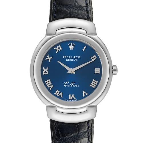 Photo of Rolex Cellini 18k White Gold Blue Roman Dial Ladies Watch 6622
