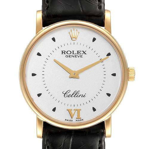 Photo of Rolex Cellini Classic Yellow Gold Silver Dial Black Strap Mens Watch 5115 Card