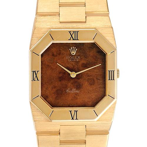 Photo of Rolex Cellini Octagonal 18K Yellow Gold Wooden Dial Mens Watch 4350