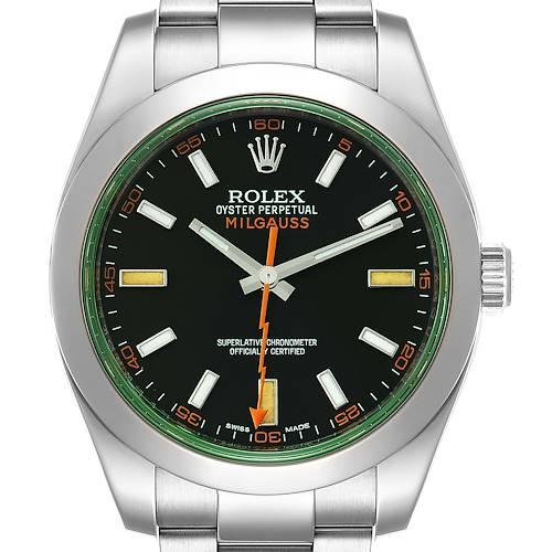 Photo of Rolex Milgauss Black Dial Green Crystal Steel Mens Watch 116400V Box Card