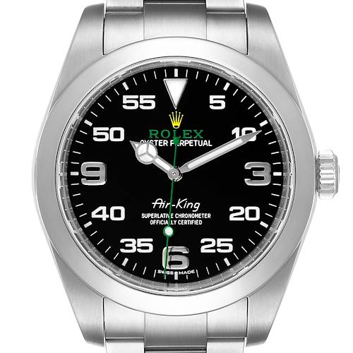 Photo of Rolex Oyster Perpetual Air King Black Dial Steel Mens Watch 116900 Box Card