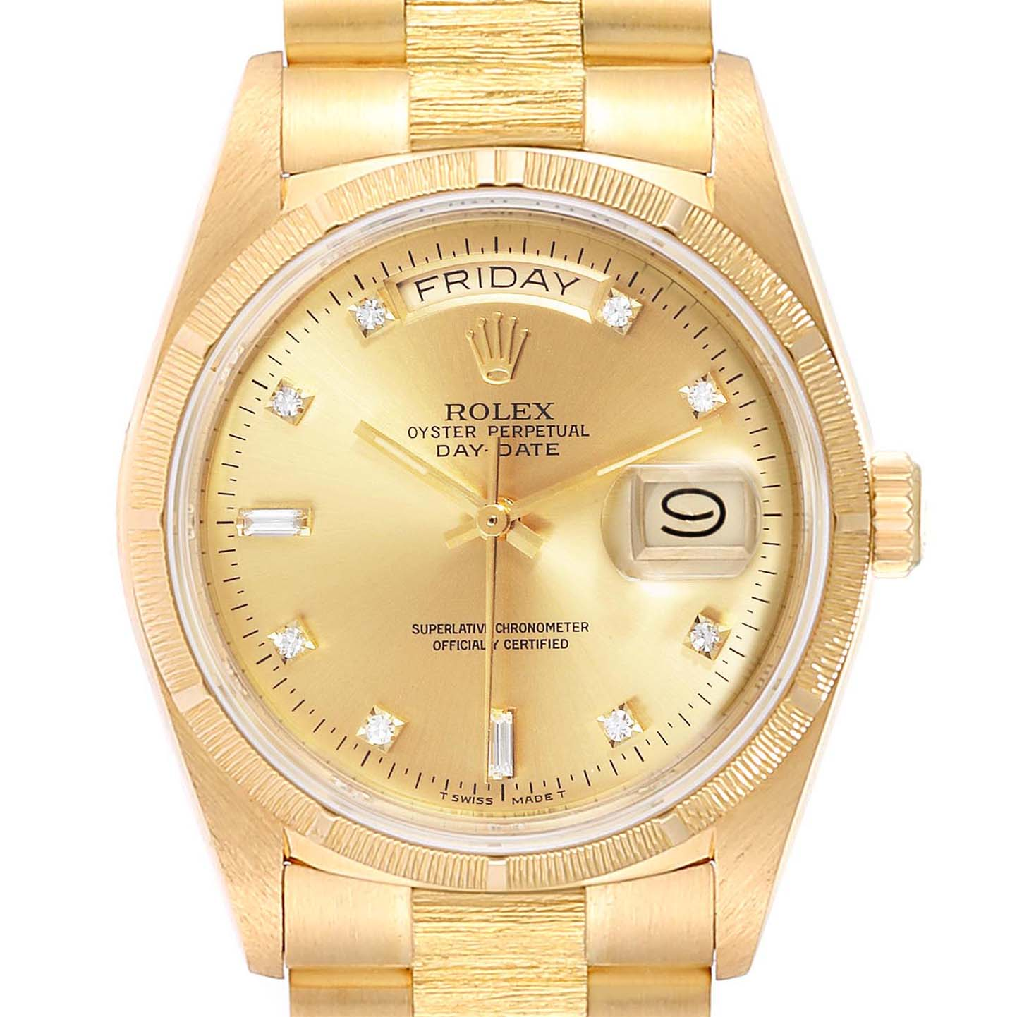 Rolex President Day-Date Yellow Gold Bark Finish Diamond Mens Watch 18078