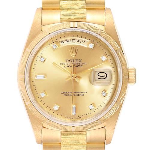 Photo of Rolex President Day-Date Yellow Gold Bark Finish Diamond Mens Watch 18078