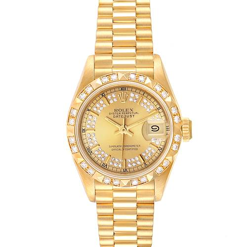 Photo of Rolex President Yellow Gold Myriad Diamond Dial Ladies Watch 69258